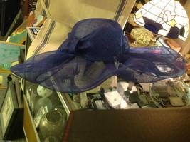 "Ladies statement blue mesh straw hat Plaza Suite New York "" Sheffield "" image 2"