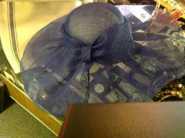 "Ladies statement blue mesh straw hat Plaza Suite New York "" Sheffield "" image 5"