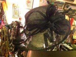 Ladies statement straw black hat w black feather & ribbon Plaza Suite NY image 3
