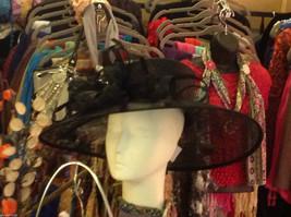 Ladies statement straw black hat w black feather & ribbon Plaza Suite NY image 2