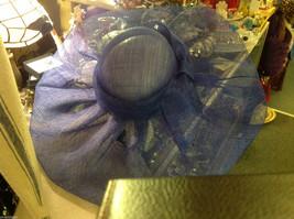 "Ladies statement blue mesh straw hat Plaza Suite New York "" Sheffield "" image 4"