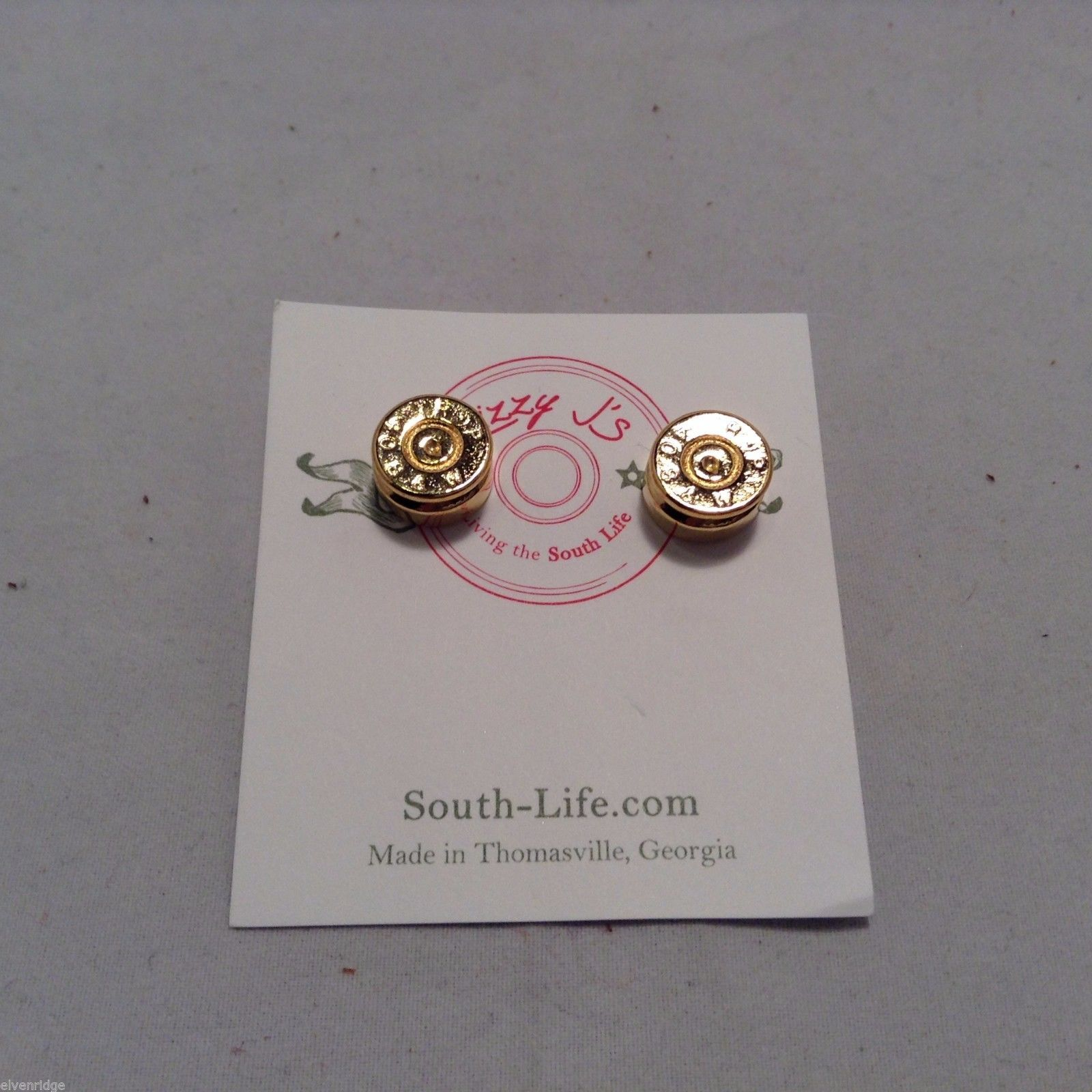 Lizzy J bullet stud gold traditional shiny  finish  earrings USA made