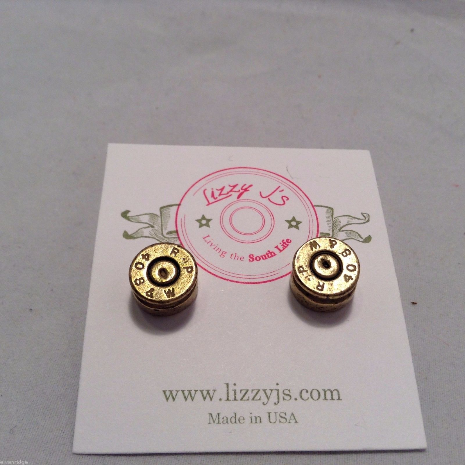 Lizzy J bullet stud gold vintage matte  finish  earrings USA made