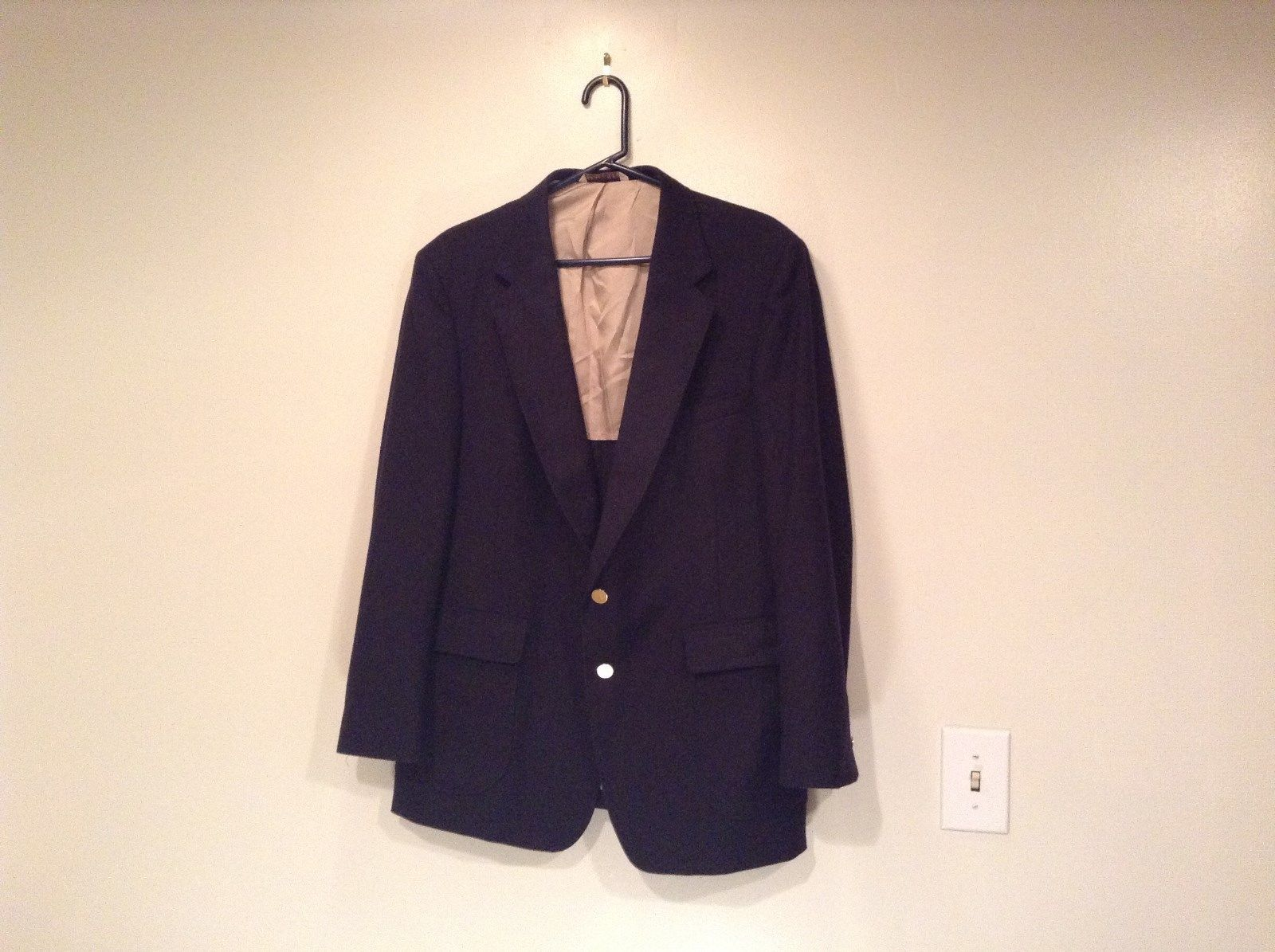 London Fog Size 44R Dark Blue Black 100 Percent Wool Suit Jacket Blazer
