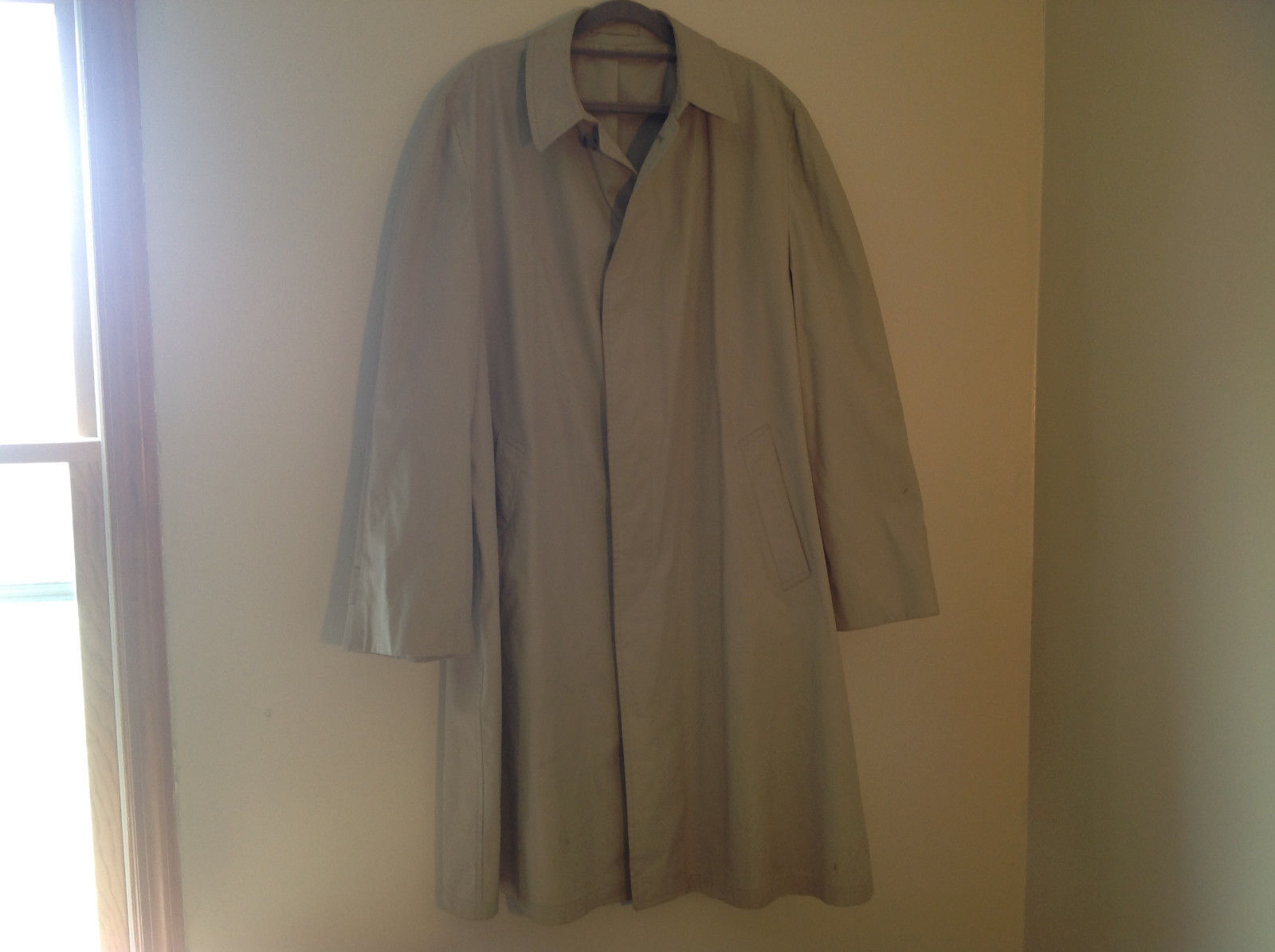 London Fog Main Coats Khaki Water Repelling Raincoat Trenchcoat Size 44 Long
