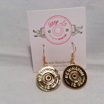 Lizzy J single dangle traditional gold spent shotgun shell cap earrings USA