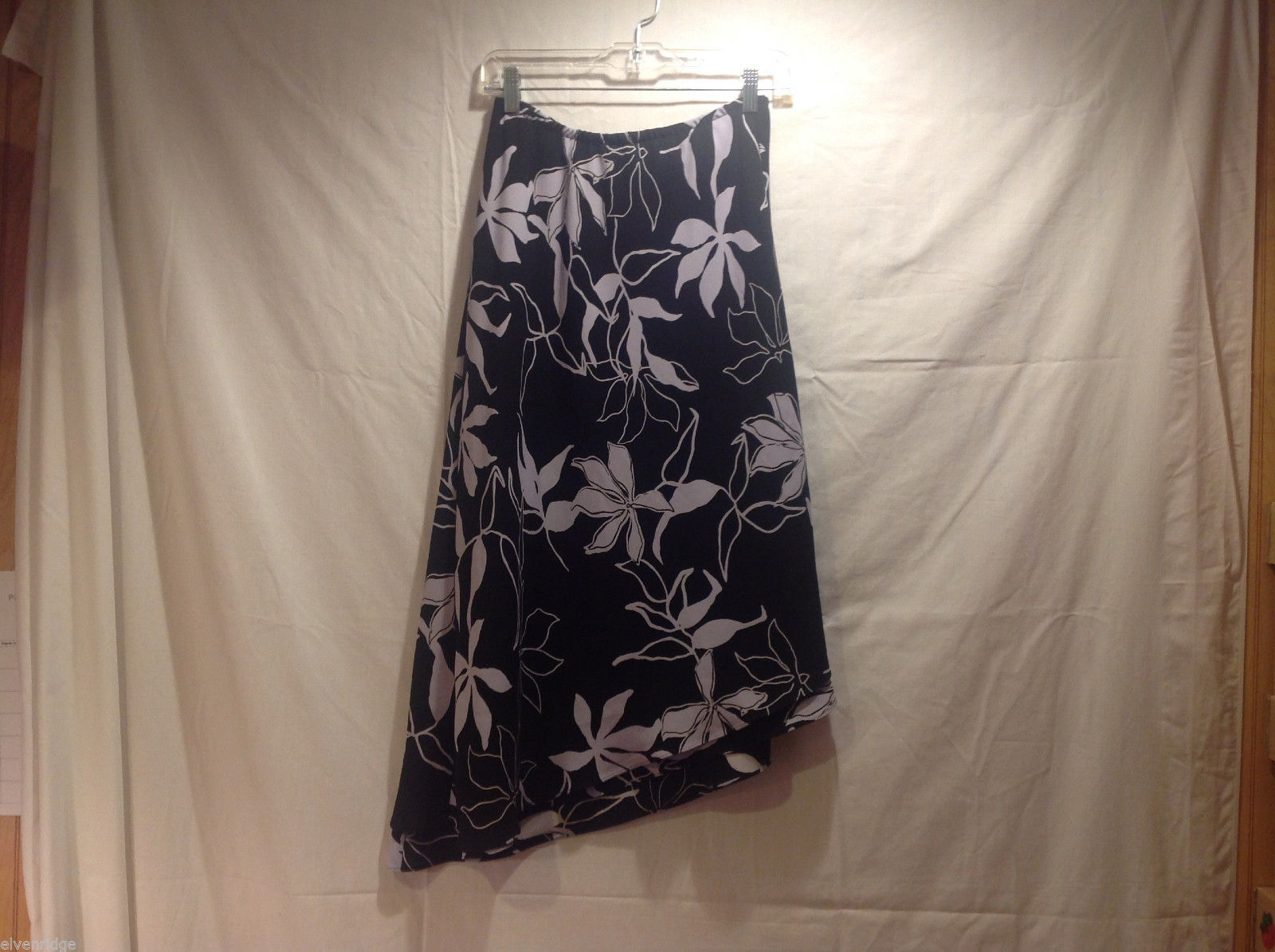 Long Asymmetrical Bottom Print Skirt Black White Floral Double Layered, Size 10