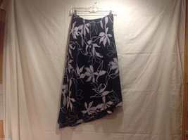 Long Asymmetrical Bottom Print Skirt Black White Floral Double Layered, Size 10 image 1