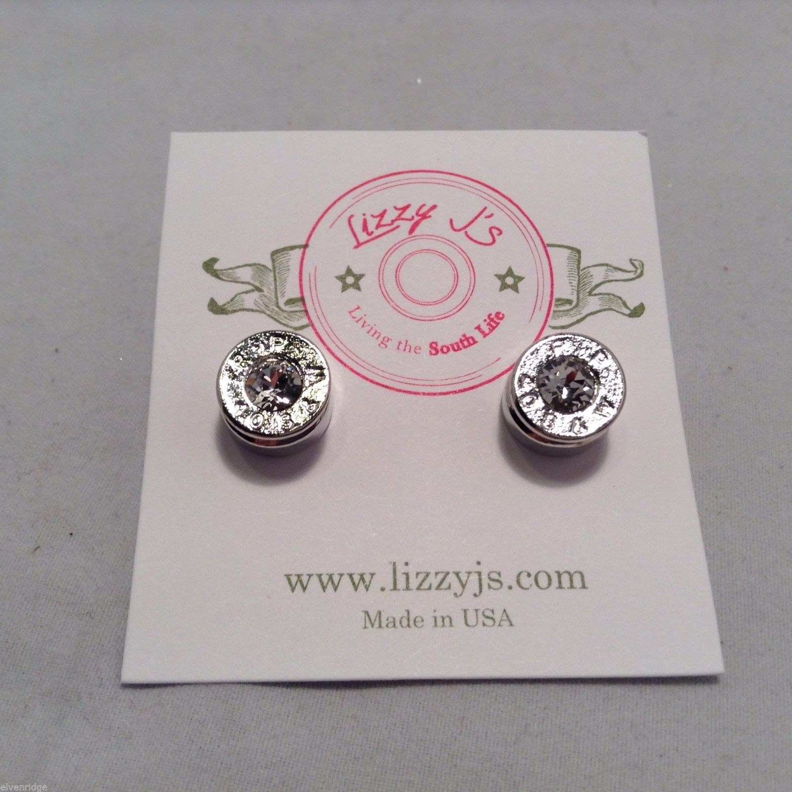 Lizzy J bullet stud silver traditional finish earrings USA made w crystal center