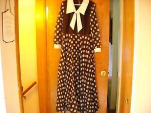 Long Brown Dress w/ White Polka Dots vintage