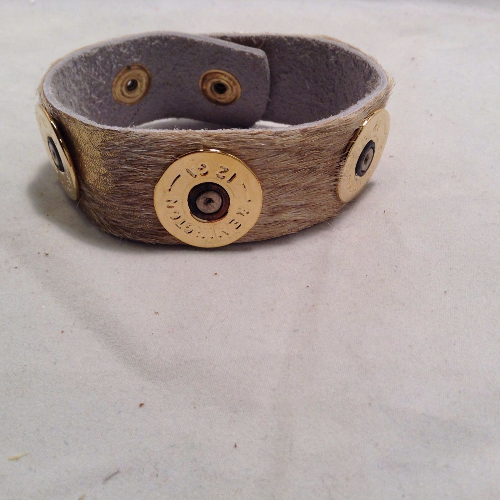 "Lizzy J leather wrap 1 Inch acid splash w spent shotgun cap USA made 9 "" long"
