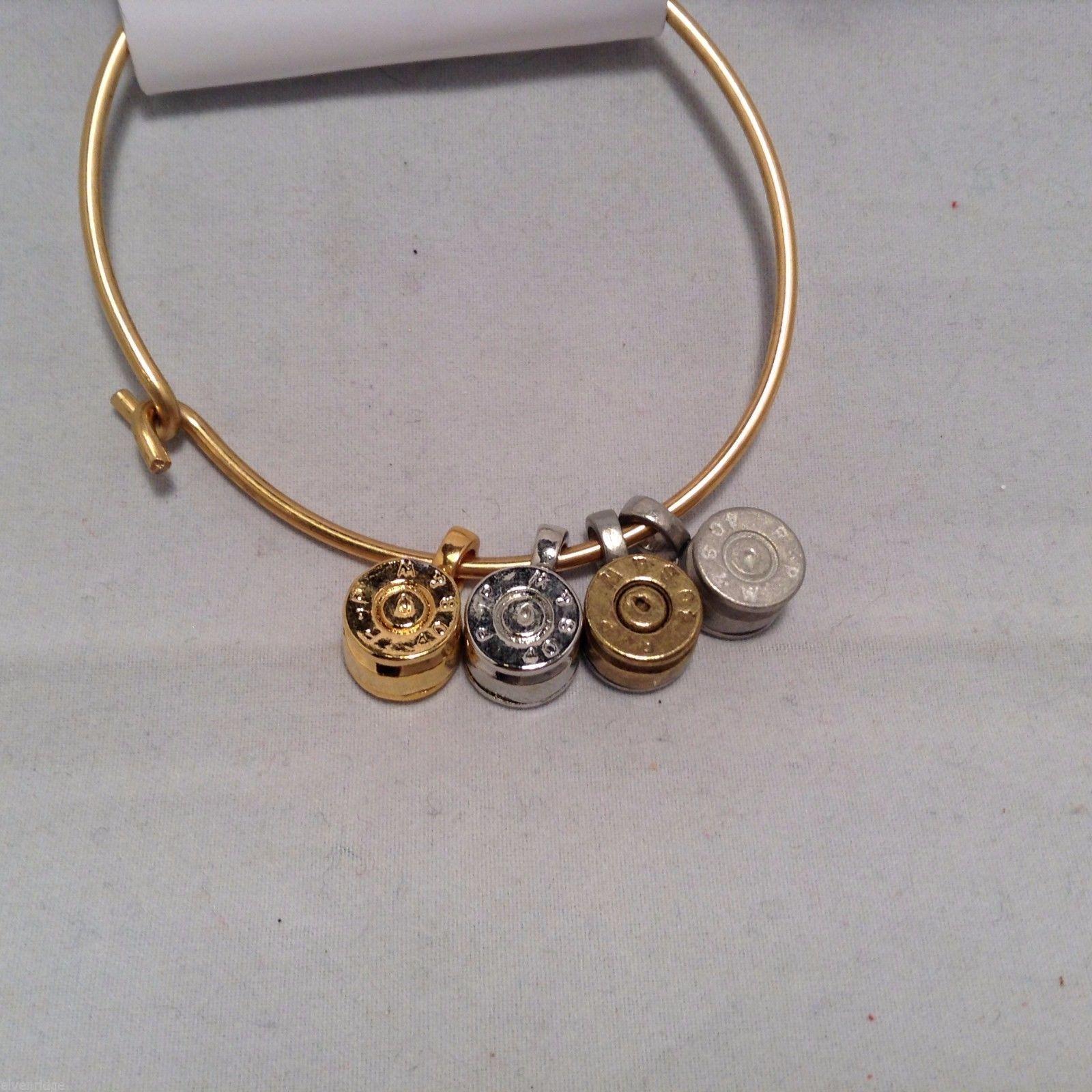 Lizzy J bullet charm bracelet, shiny gold silver vintage gold and silver