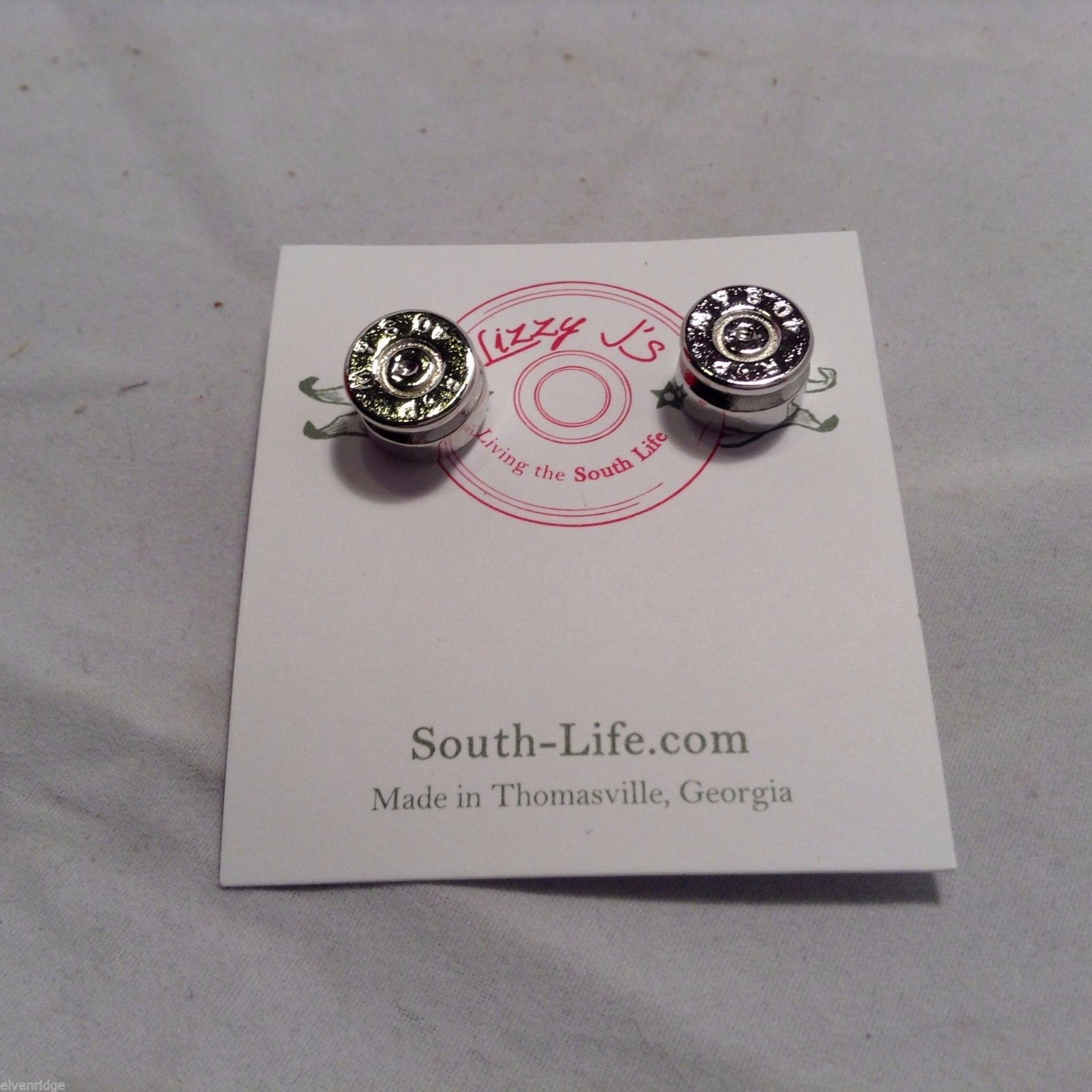 Lizzy J bullet stud silver traditional finish  earrings USA made