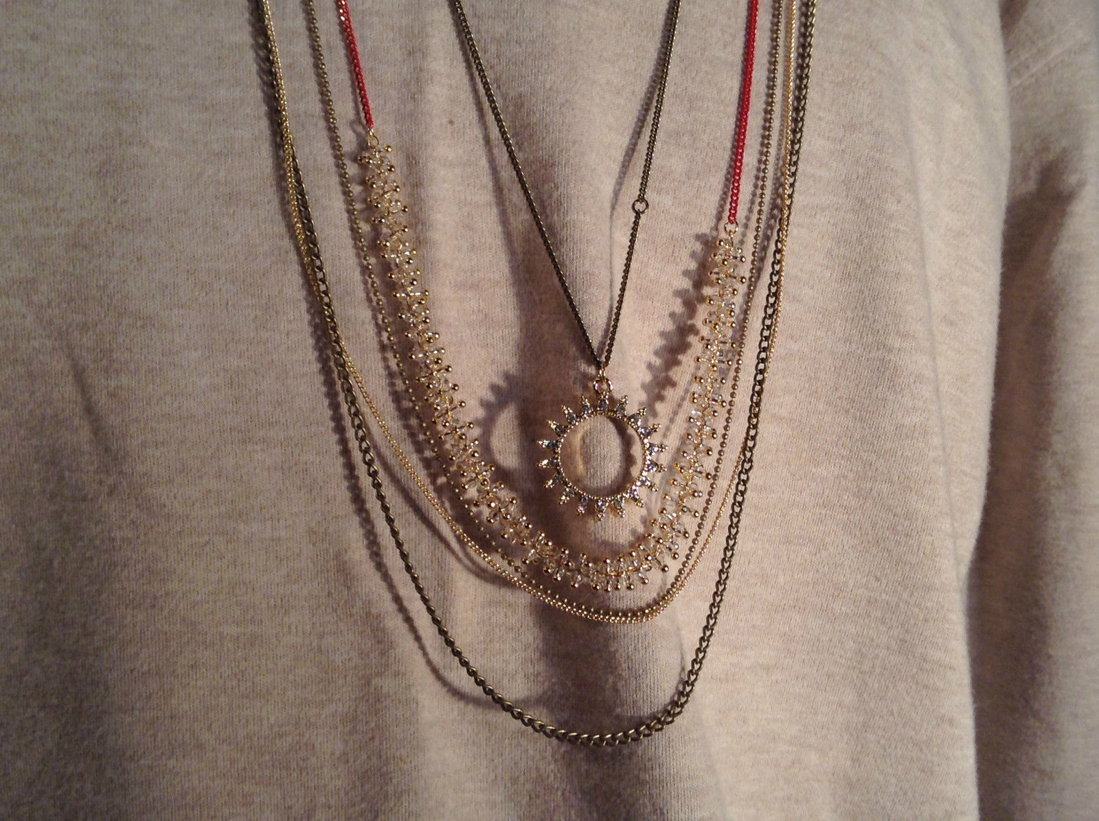 Long Gold Tone Five Layer Chain Necklace Swarovski crystals delicate Prudence C