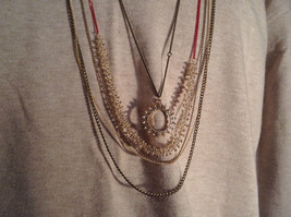 Long Gold Tone Five Layer Chain Necklace crystals delicate Prudence C