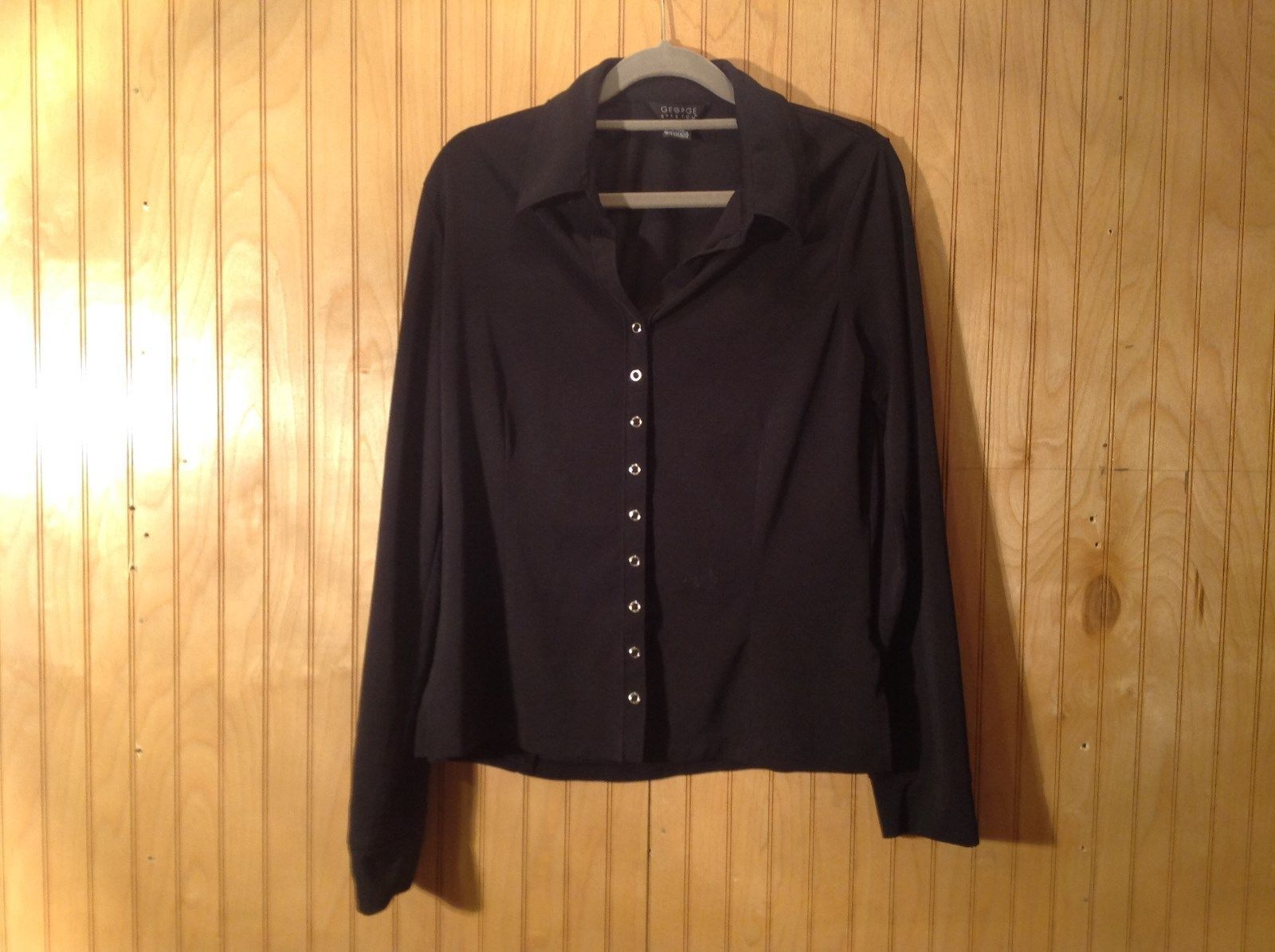 Long Sleeve Black Button Up Front Blouse George Stretch Size Large