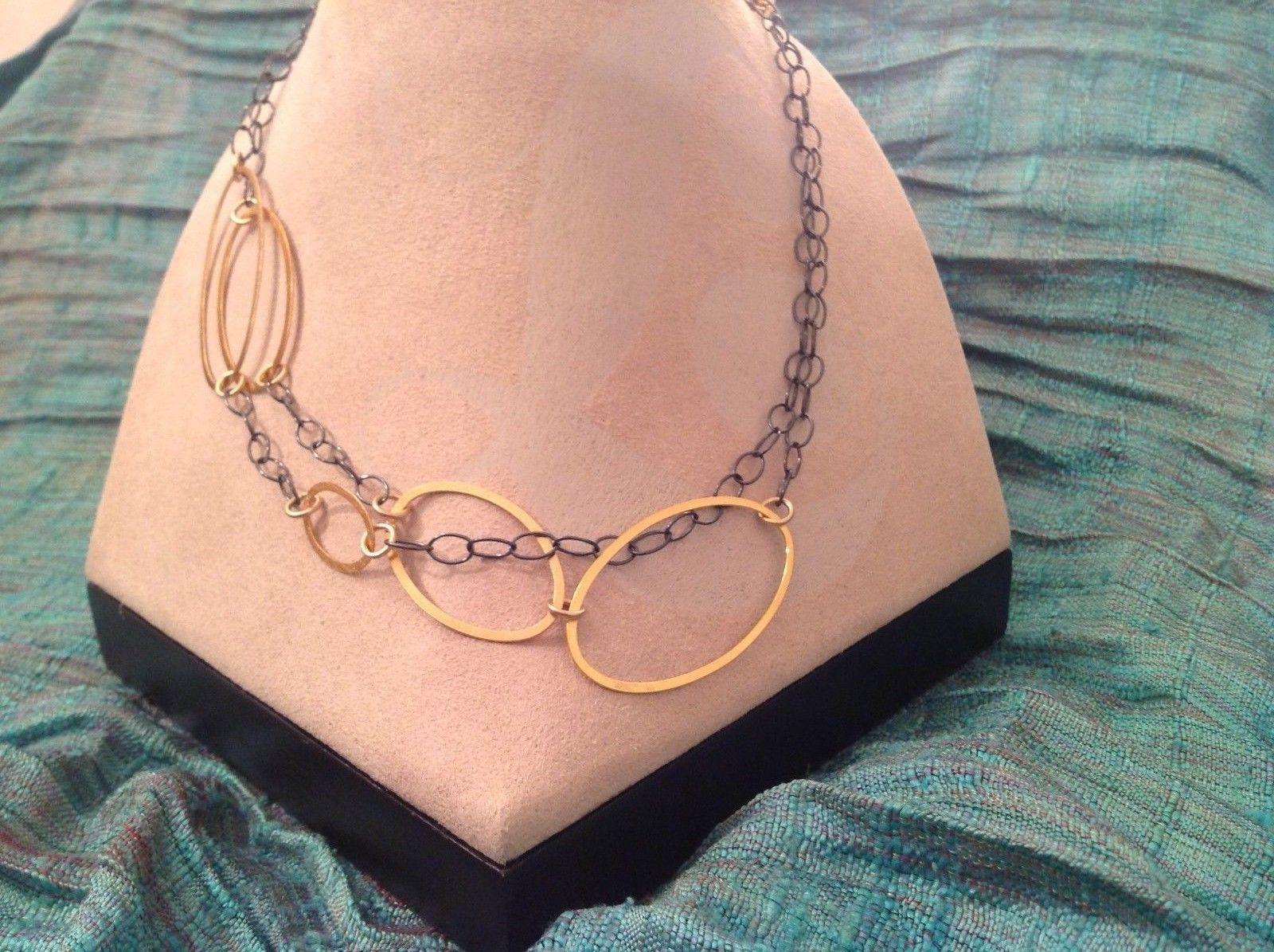 Long Multi Oval Necklace Gold w Black Oxide Silver Chain Handmade Zina Kao