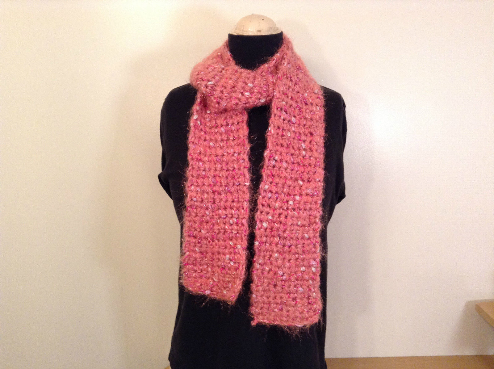 Long Knitted Pink Scarf Pink Acrylic Yarn with Metallic Accent Very Soft