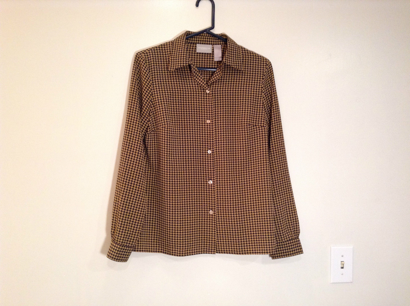 Long Sleeve Brown Black Pattern Size 8 Button Up Front Shirt Liz Claiborne