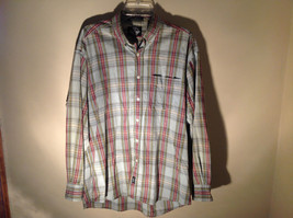 Long Sleeve Button Up Collared DOCKERS Shirt Plaid Red Green Yellow Blue Size M