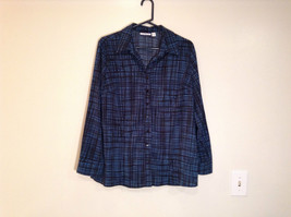 Long Sleeve Dark Turquoise and Black Patterned Shirt Size XL Croft and Barrow