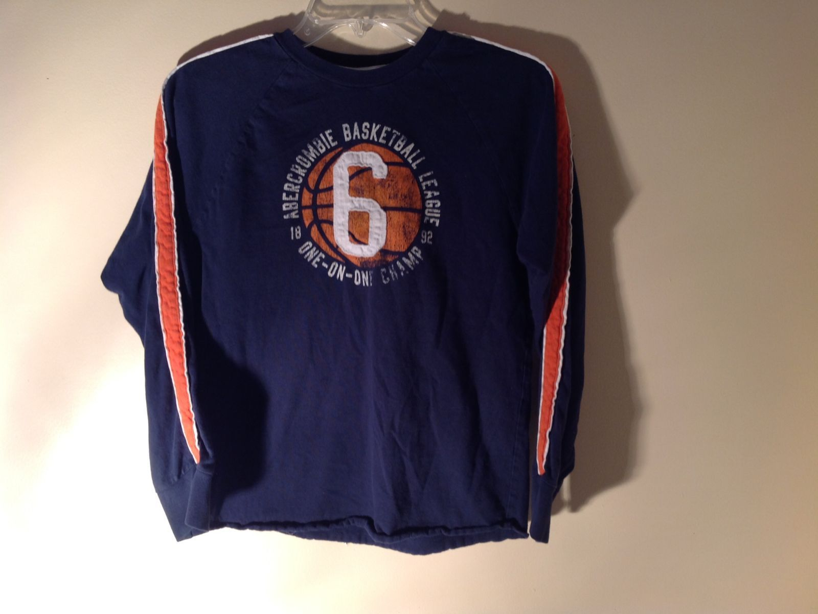 Long Sleeve Dark Blue Basketball Shirt Logo  Abercrombie