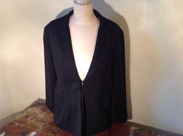 Long Sleeve Pure Black Coldwater Creek Shaped Blazer Size P14 image 1