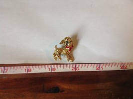 Lamb Pin with Green Crystal Eyes and Red Scarf Hinge Clasp Gold Tone image 6
