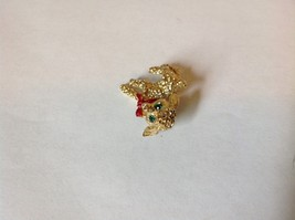 Lamb Pin with Green Crystal Eyes and Red Scarf Hinge Clasp Gold Tone image 3