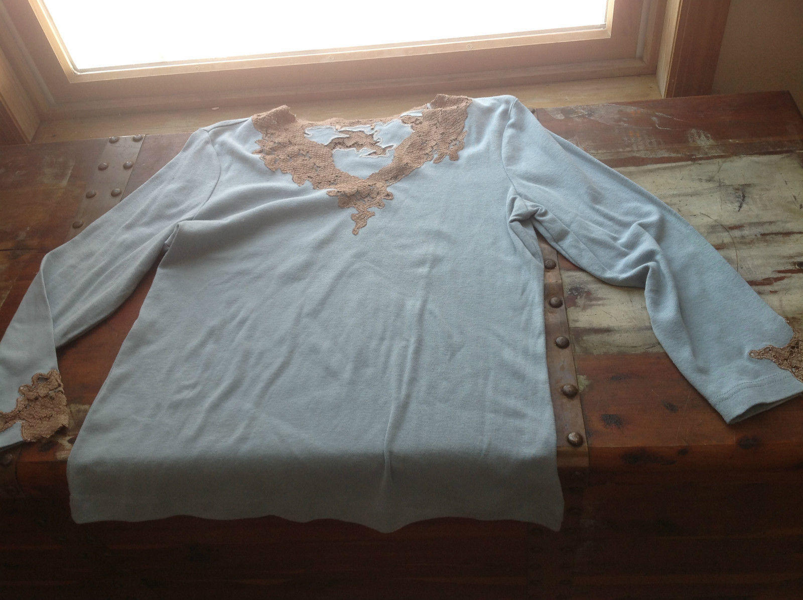 Long Sleeve Light Blue with Brown Neckline and Sleeves Blouse Size 19 W No Tag