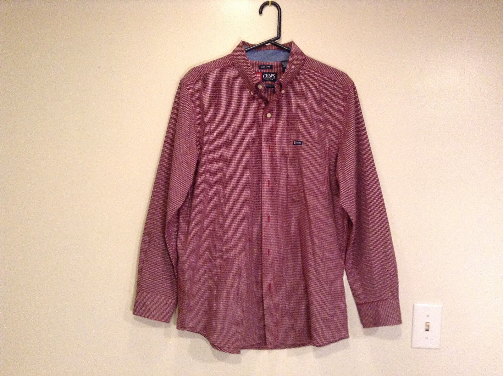 Long Sleeve Dark Red and White Plaid Button Front Dress Shirt by Chaps Size L