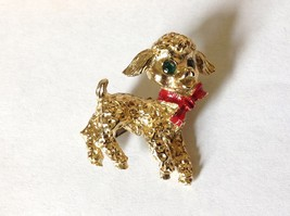 Lamb Pin with Green Crystal Eyes and Red Scarf Hinge Clasp Gold Tone image 2