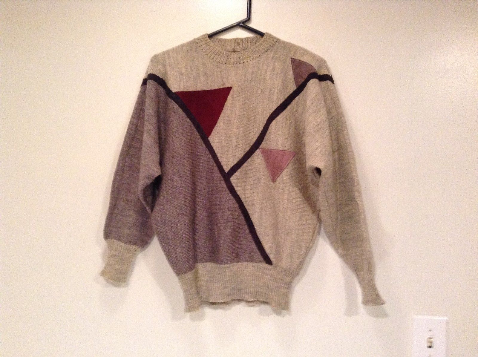 Long Sleeve Gray Sweater Natural Leather Decorations Leena Lehtinen No Size Tag