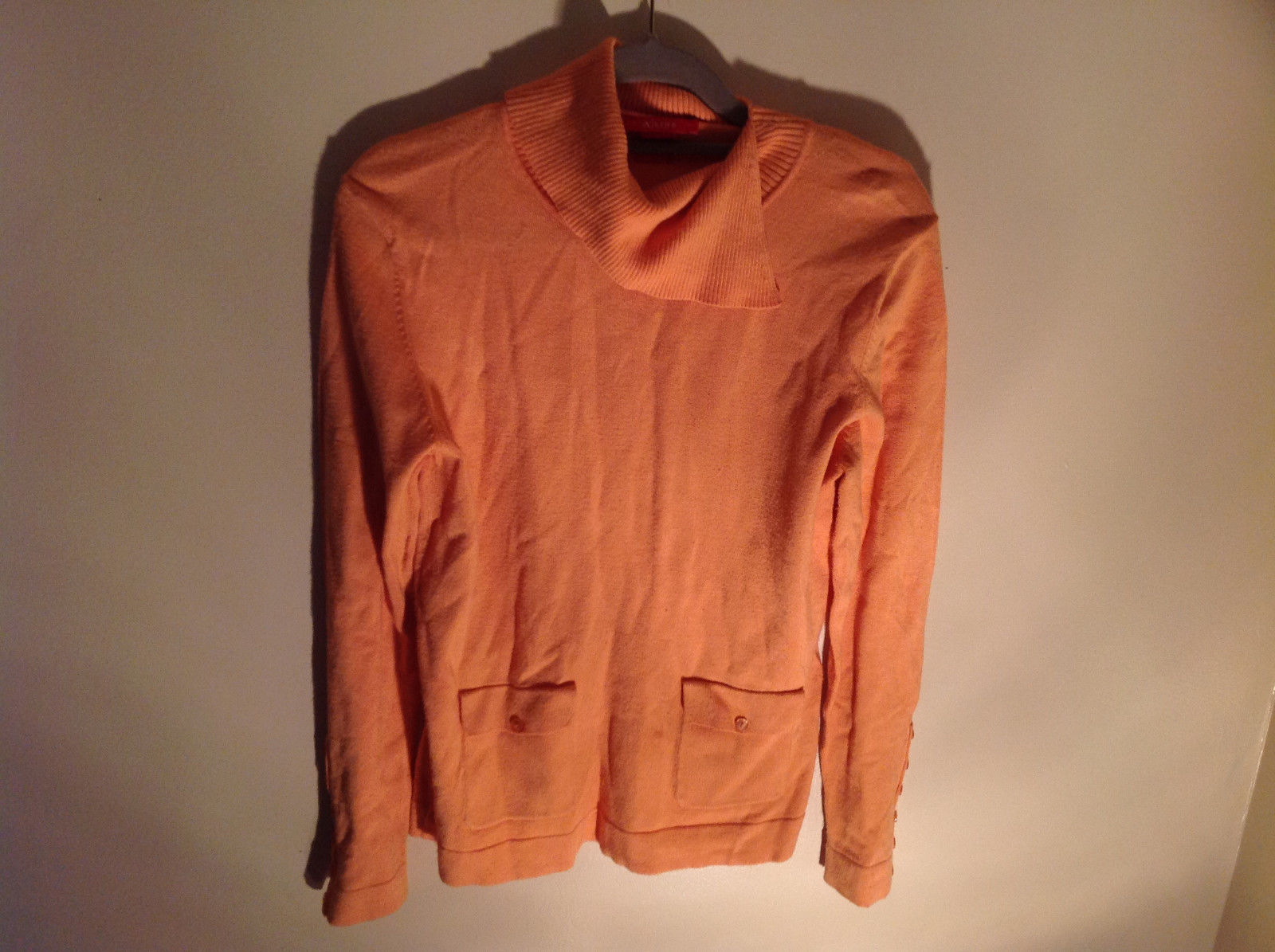 Long Sleeve Peachy Orange Color Sweater Turtleneck Collar from A Line Size Small