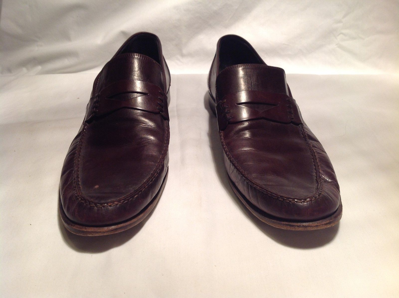 Lorenzo Banfi Brown Dress Shoes Loafers Slip On Made In Italy Size 12