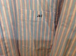 Lands End Light Blue Pink White Striped Dress Shirt, Size 16/34 image 3