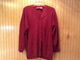 Long Sleeve Red Cardigan Sweater Button Down Liz Claiborne V Neck Size Medium