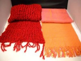 Lot of 2 Scarves Orange Salmon Red