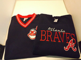 Lot of 2 Vintage Atlanta Braves MLB Apparel Sweatshirt and Shirt NWT image 1