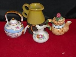 Lot of 2 Tea Pots and 2 Pitchers miniature doll house