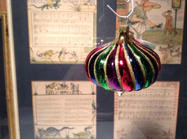 Onion Shaped Old German Christmas Glass Handmade Tree Ornament Very Colorful
