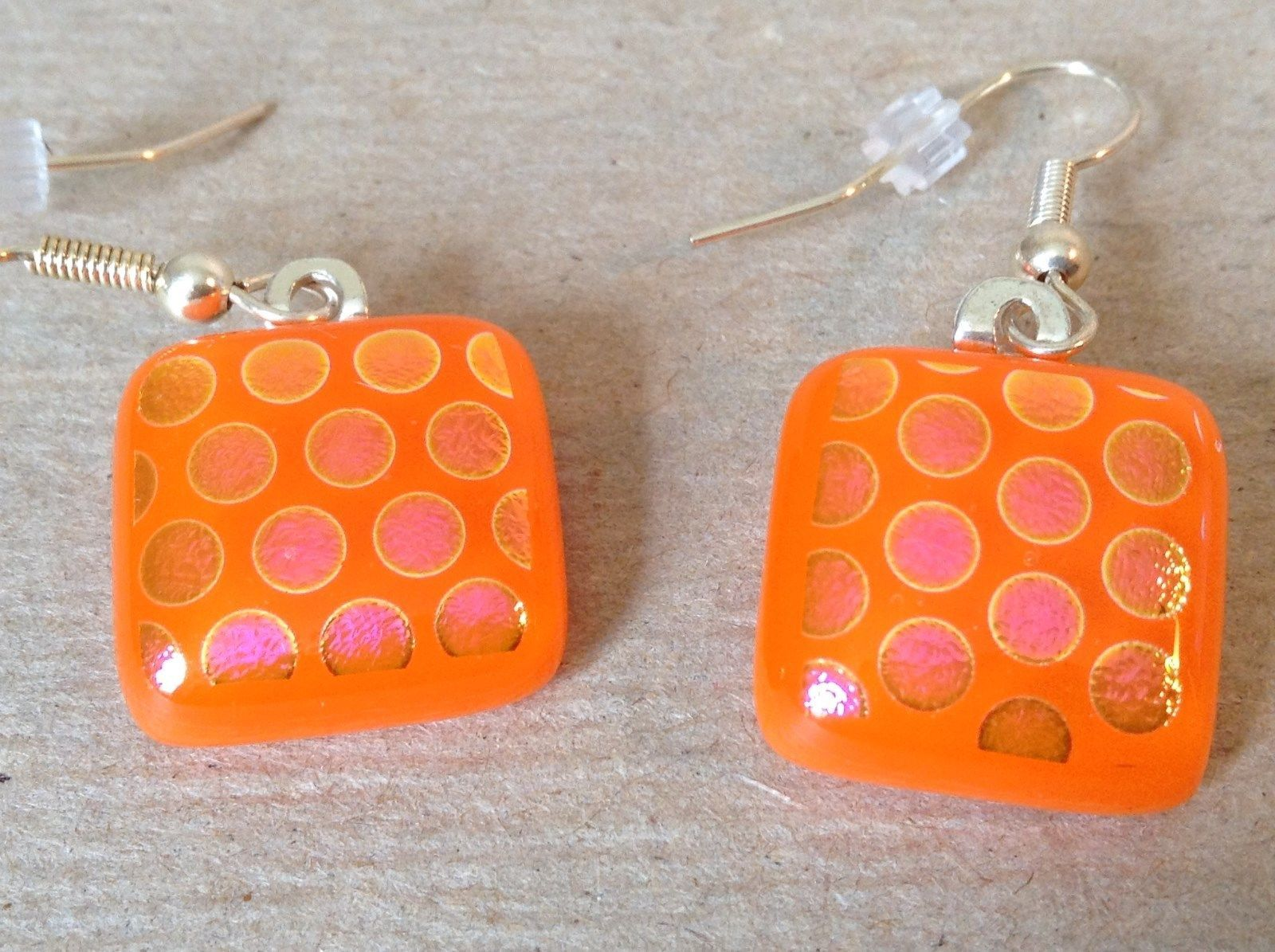 Orange Violet Polka Dot Pattern Square Shaped Glass Dangling Earrings