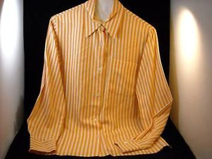 Orange and Tan ladies long sleeve button down blouse