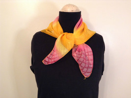 Orange Yellow and Pink Square Scarf 100 Percent Polyester