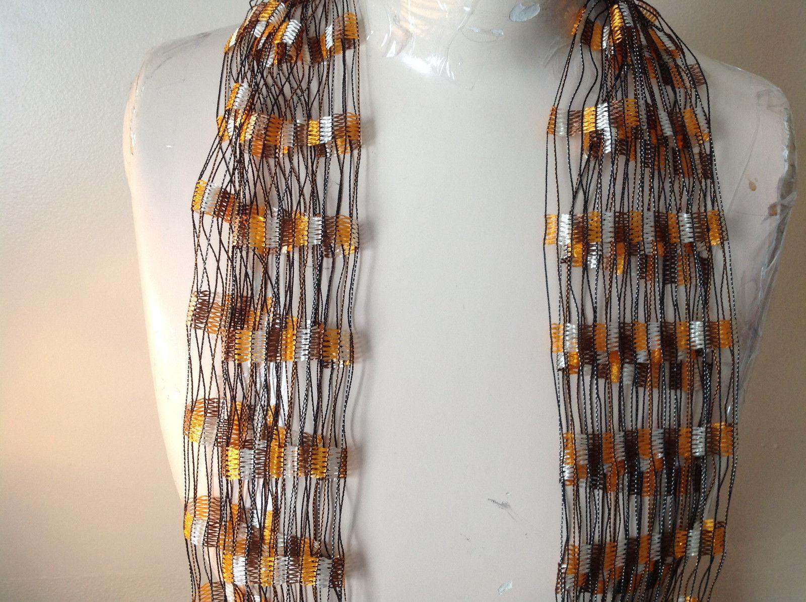 Orange and Brown Filigree Scarf Headband Belt Three in One