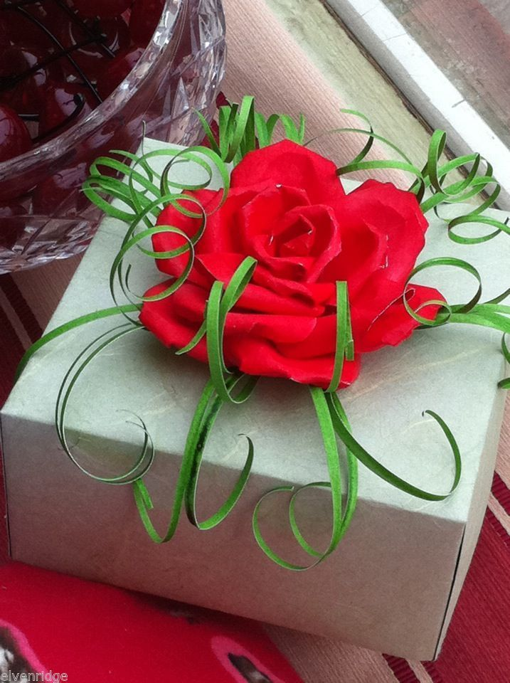 Origami Red Rose Paper on Pale Green Gift Box made in USA
