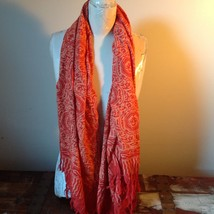 Orange and red Large fabric Shawl / Wrap