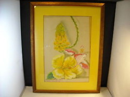 Original Framed Print Signed Pastel of Flowers