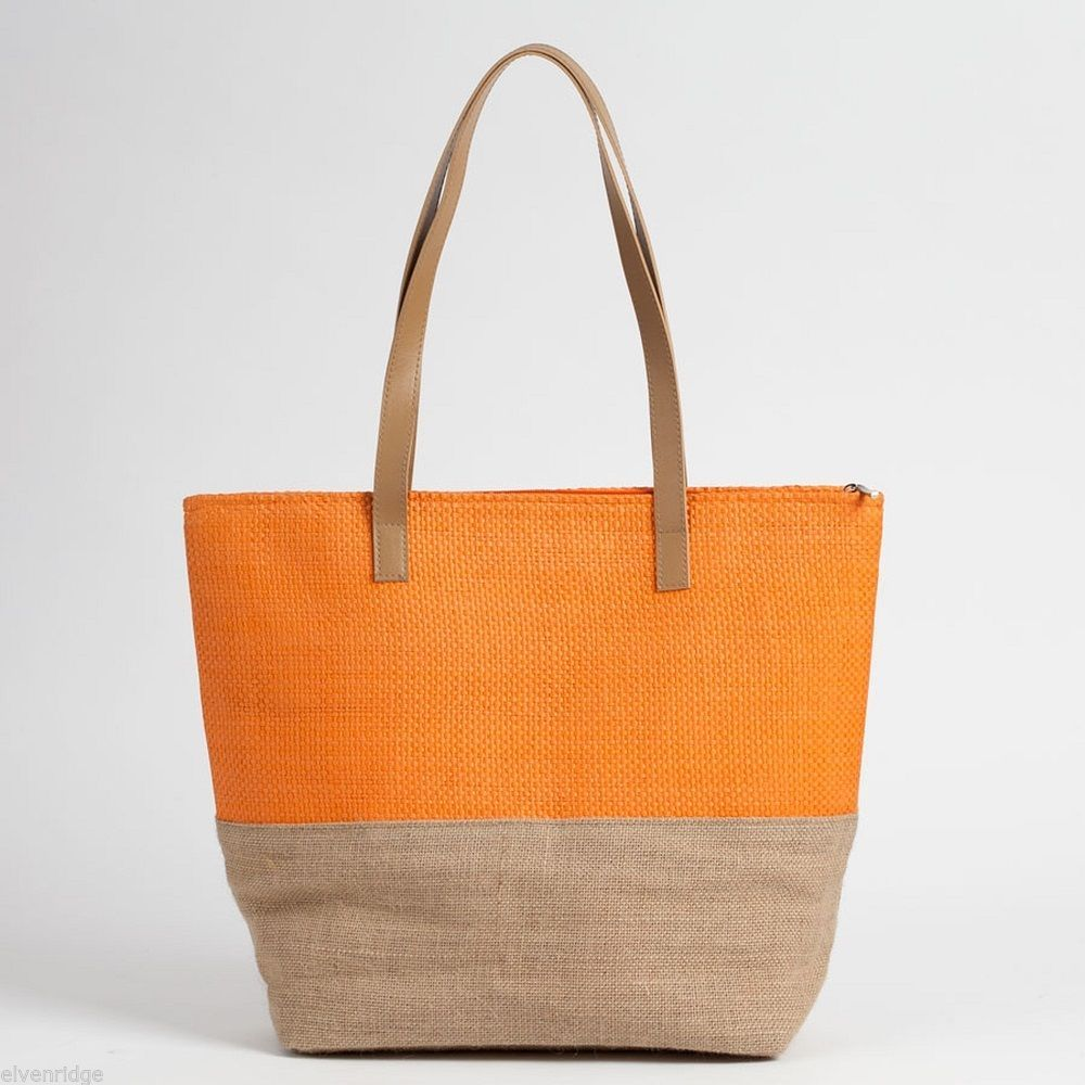 Orange color Block tote Summer with Jute