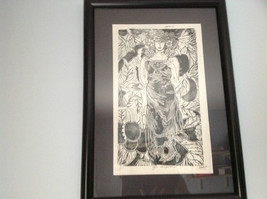 Original Guatemalan wood block print signed #5 of Ten Woman of the Forest